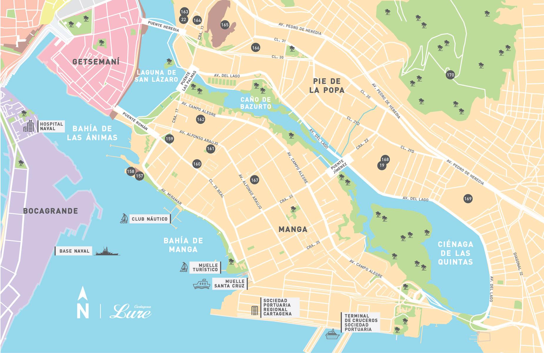 Mapa de pie de la Popa y Manga