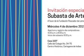 Invitación especial Subasta de arte a favor de la fundación pescador de letras